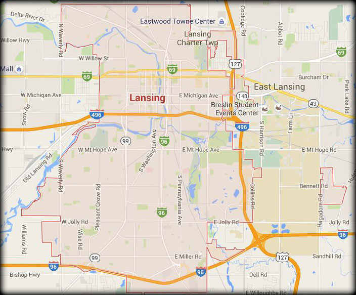 Map of Our Lansing Service Area