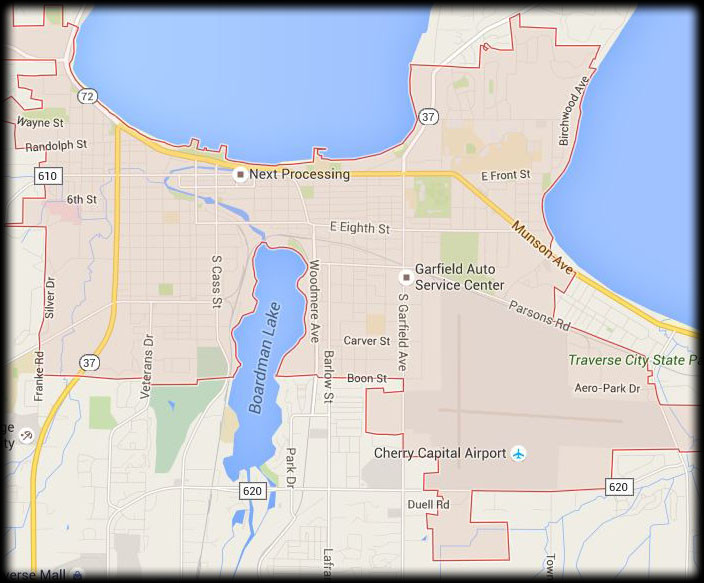 Map of Our Traverse CIty Service Area